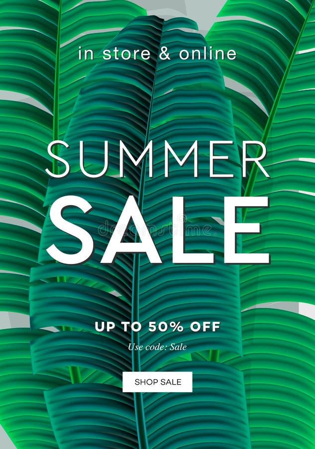 dni liści palm sunny zabrać Lato sprzedaż up to 50 procentów daleko Sieć sztandar lub plakat dla handlu elektronicznego, linia ko ilustracji