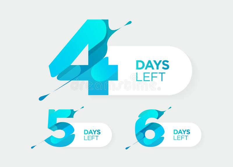 4, 5, 6 dni Opuszczać Wektorowe Futurystyczne liczby Sprzedaż odliczanie zegaru bar Daktylowa odznaka dla promocji, Definitywna s ilustracji