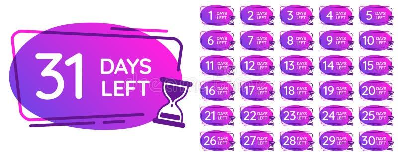 Dni opuszczali odznaki Dzień liczb odliczanie zegar, hourglass odpierający przypomnienie i piasków zegarów czasów odznaki wektor, royalty ilustracja
