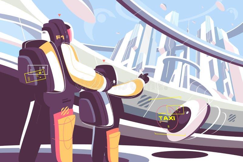 Dni powszedni ludzie w przyszłości ilustracji
