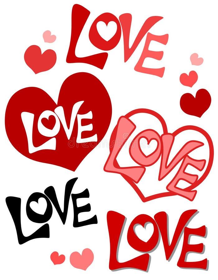 dni serc miłość jest retro walentynki ilustracji