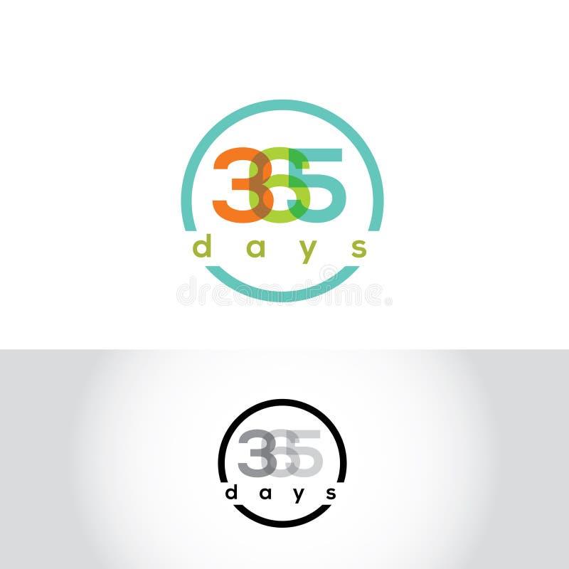 365 dni wektoru logo Kalendarzowy emblemat Sezon etykietka ilustracja wektor