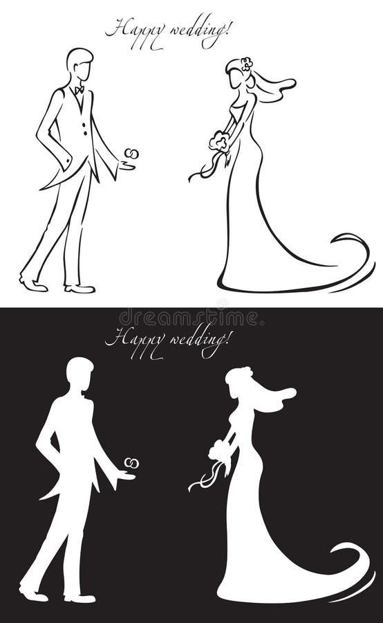 Dnia ślubu państwo młodzi ilustracja wektor