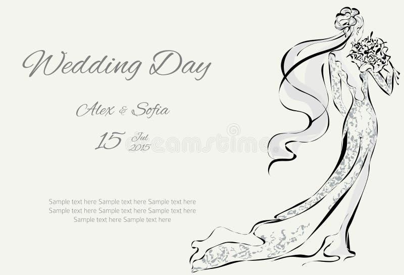 Download Dnia Ślubu Zaproszenie Z Piękną Narzeczoną Ilustracji - Ilustracja złożonej z heart, kardamon: 53780882