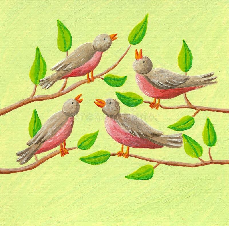 12 dnia boże narodzenia - cztery ptaka ilustracja wektor