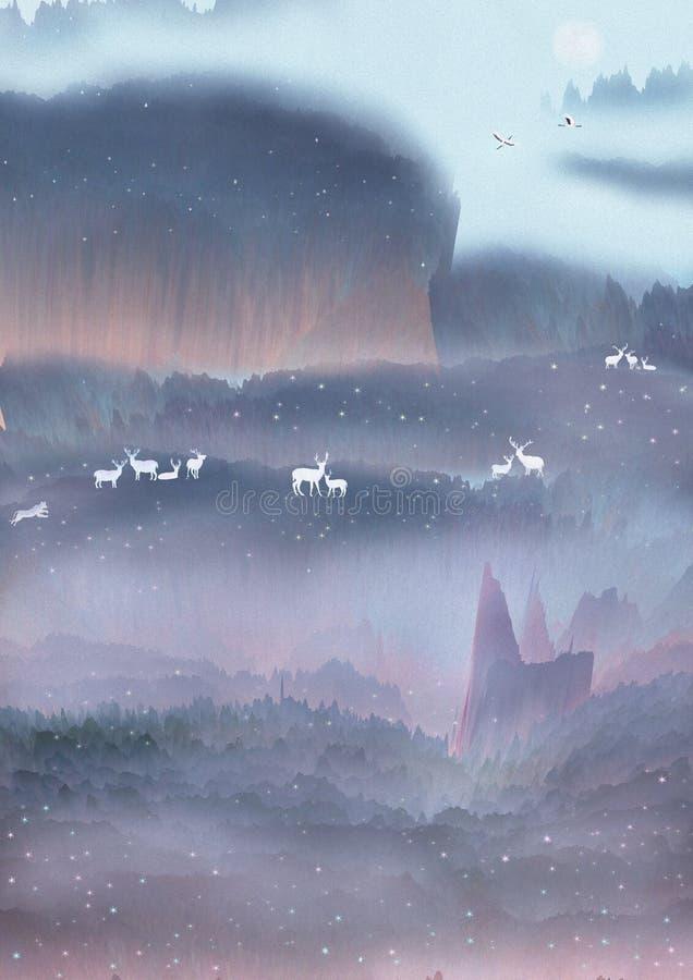 Dnia dobrego słońce wzrasta szczęśliwie jelenia sztuka w lesie w górach royalty ilustracja
