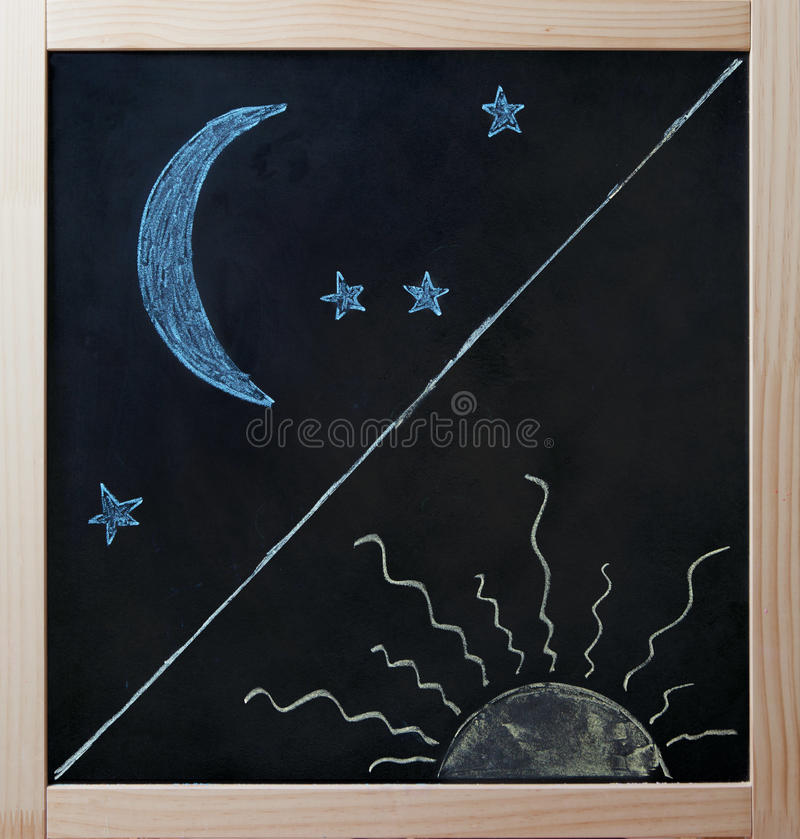 Dnia i nocy przeciwieństw pojęcie na blackboard ilustracja wektor