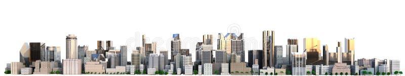 Dnia miasto z odbicia 3d renderingu wizerunkiem na bielu royalty ilustracja