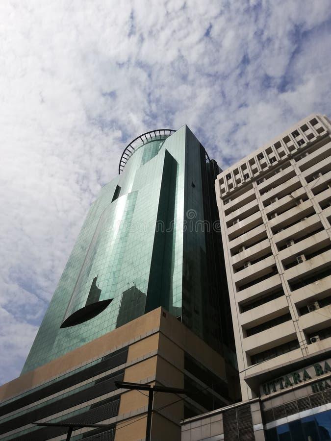Dnia niebo i budynek Dhaka kapitał Bangladesz zdjęcia royalty free
