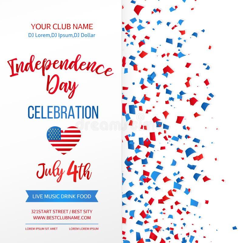 Dnia Niepodległości świętowanie czwarty Lipca Tradycyjny Amerykański wakacyjny kartka z pozdrowieniami, plakat, ulotka sztandar p royalty ilustracja