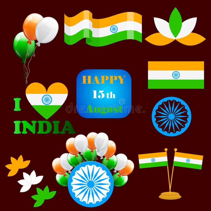 Dnia Niepodległości India kreatywnie wektorowa ilustracja w flaga państowowa colour ilustracja wektor