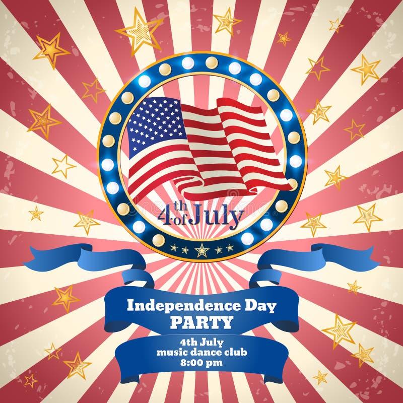 Dnia Niepodległości Partyjny świętowanie rabatowy bobek opuszczać dębowego faborków szablonu wektor royalty ilustracja