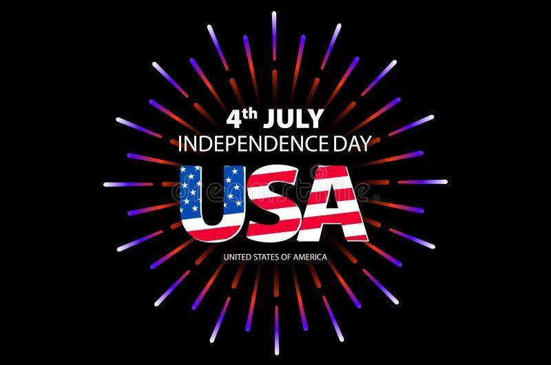 Dnia Niepodległości pojęcie 4th Lipa dzień niepodległości z fajerwerku tłem wektor ilustracji