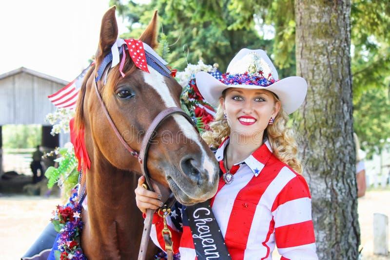 Dnia Niepodległości rodeo królowej Cheyenne Rosander portret zdjęcia stock