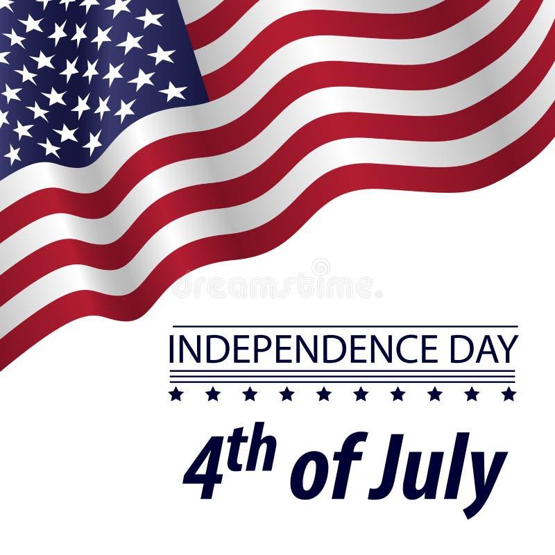 Dnia Niepodległości 4 th Lipiec z falowanie flagą na białym tle ilustracji