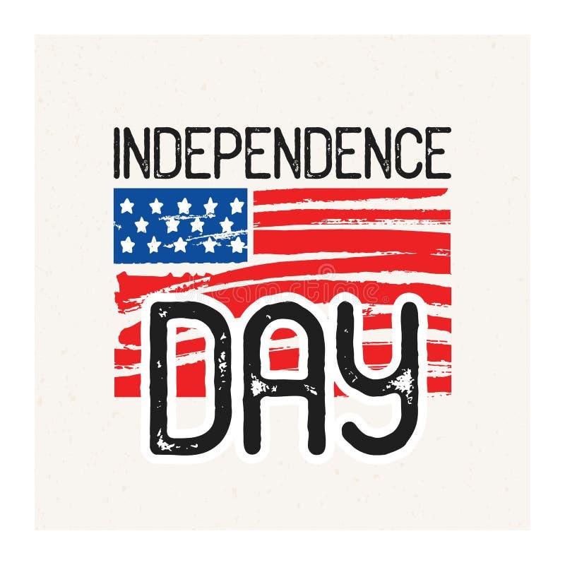 Dnia Niepodległości wpisowy ręcznie pisany z elegancką chrzcielnicą przeciw ręka rysującej krajowej flaga amerykańskiej na tle royalty ilustracja