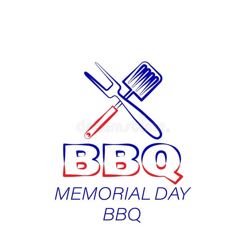 Dnia pamięci bbq barwiona ikona Element dzień pamięci ilustracji ikona Znaki i symbole mogą używać dla sieci, logo, mobilny app ilustracja wektor
