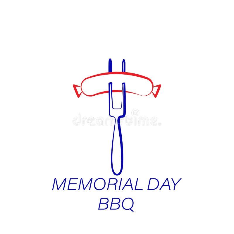 Dnia pamięci bbq barwiona ikona Element dzień pamięci ilustracji ikona Znaki i symbole mogą używać dla sieci, logo, mobilny app royalty ilustracja