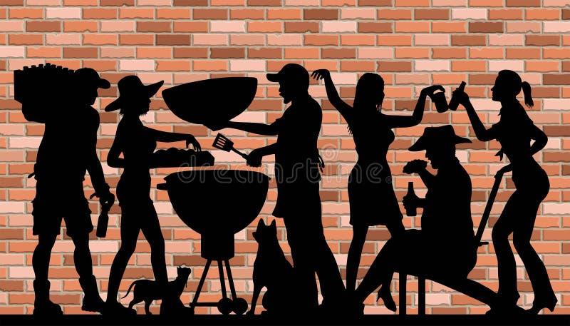 Dnia Pamięci BBQ przyjęcia sylwetka przed ściana z cegieł royalty ilustracja