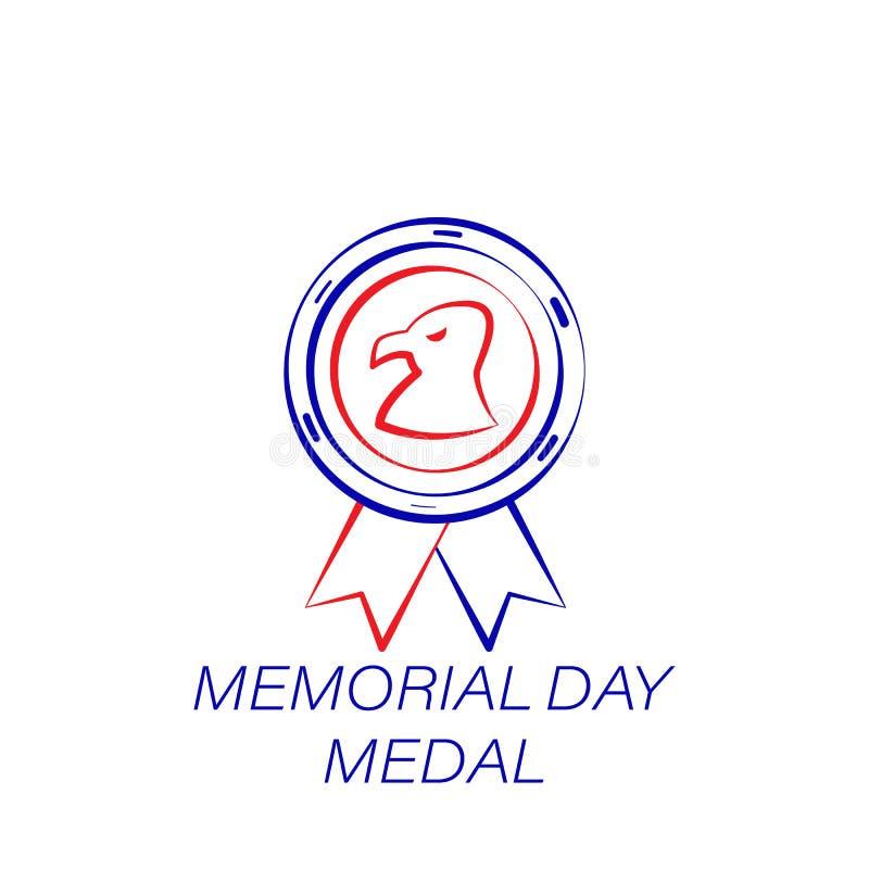 Dnia pamięci medalu barwiona ikona Element dzień pamięci ilustracji ikona Znaki i symbole mogą używać dla sieci, logo, wisząca oz ilustracja wektor