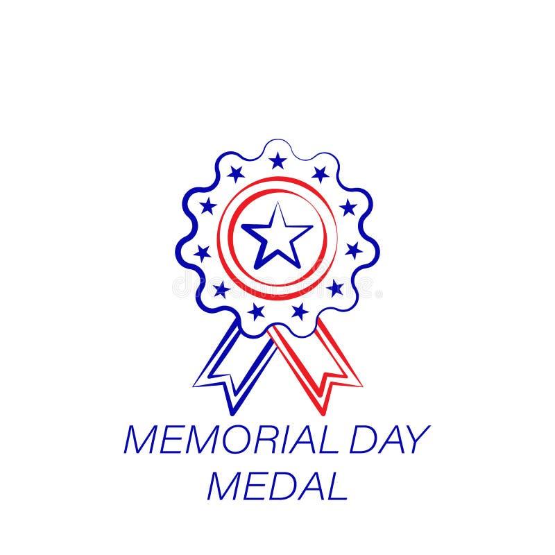 Dnia pamięci medalu barwiona ikona Element dzień pamięci ilustracji ikona Znaki i symbole mogą używać dla sieci, logo, wisząca oz ilustracji