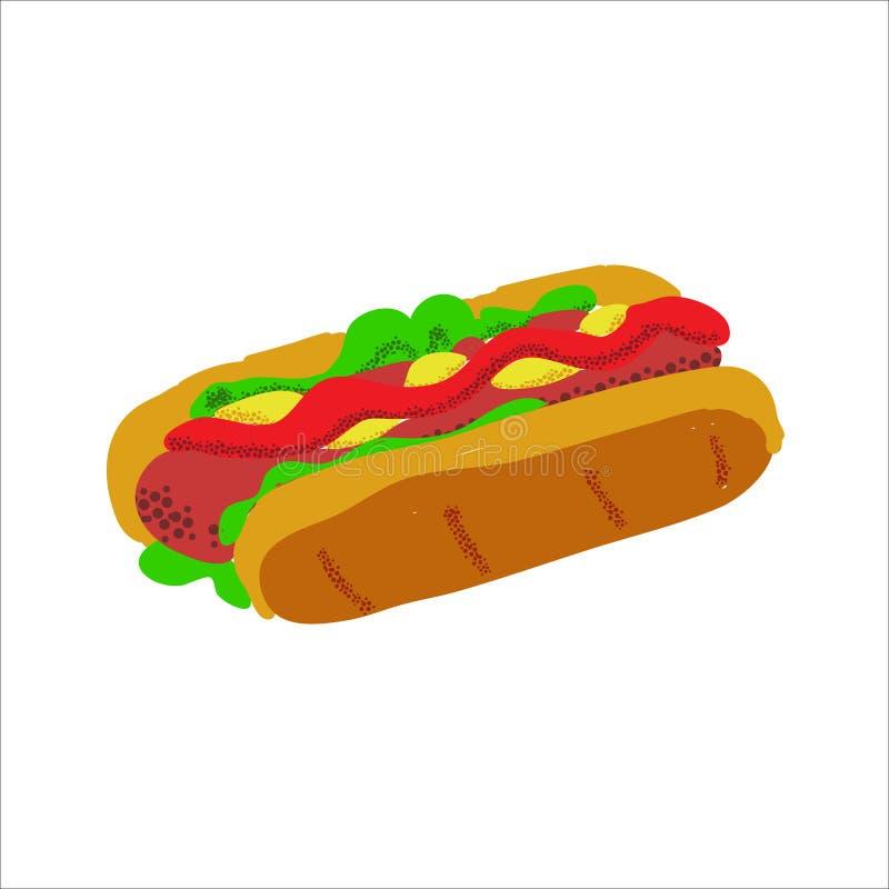 Dnia pamięci pykniczny karmowy ilustracyjny hot dog ilustracja wektor