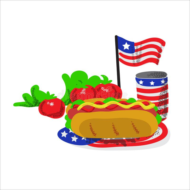 Dnia pamięci pykniczny karmowy ilustracyjny hot dog royalty ilustracja