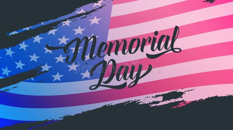 Dnia pamięci sztandar Ilustracja z dnia pamięci literowaniem i usa flaga ilustracji