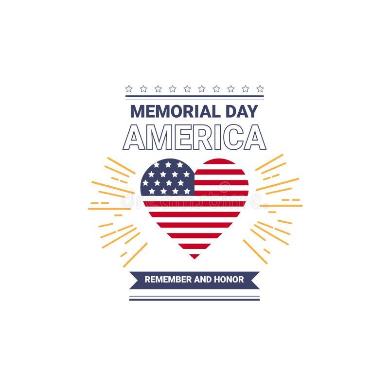 Dnia pamięci usa kartka z pozdrowieniami tapeta, krajowa flaga amerykańska z gwiazda kierowym kształtem na białym tle, płaski pro ilustracja wektor