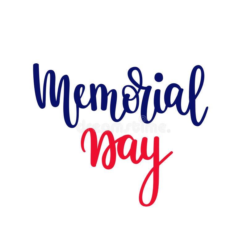 Dnia pamięci wektorowy literowanie Patriotyczny Amerykański wakacje Sztandar sprzedaży gratulacje royalty ilustracja