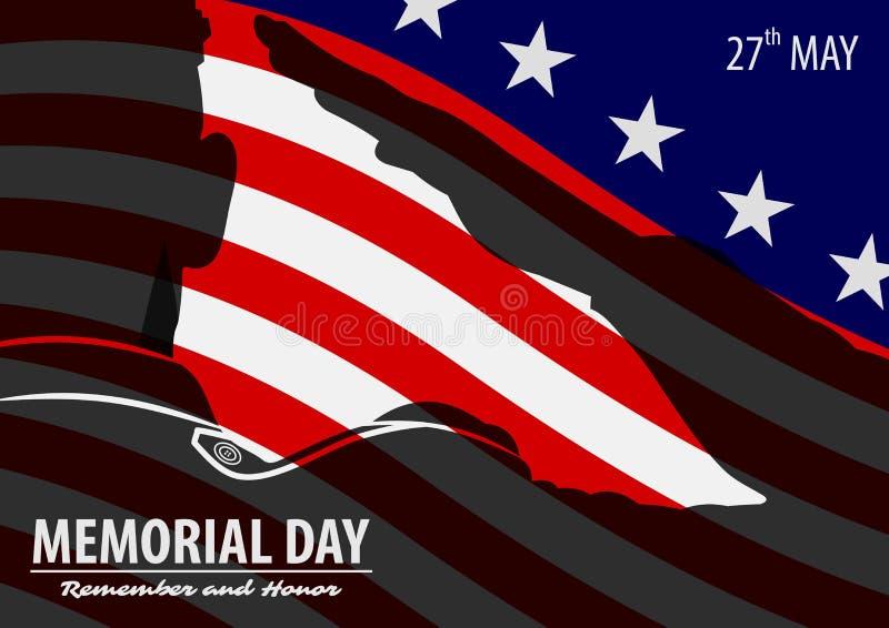 Dnia pami?ci plakata szablon wojsko USA ?o?nierze salutuje na flaga ameryka?skiej tle r?wnie? zwr?ci? corel ilustracji wektora ilustracji