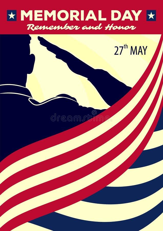 Dnia pami?ci plakata szablon wojsko USA ?o?nierze salutuje na flaga ameryka?skiej tle r?wnie? zwr?ci? corel ilustracji wektora ilustracja wektor