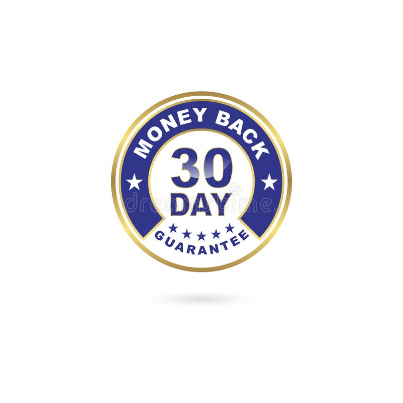 30 - dnia pieniądze plecy gwaranci ikony Błękitny i Złocisty kolor ilustracja wektor