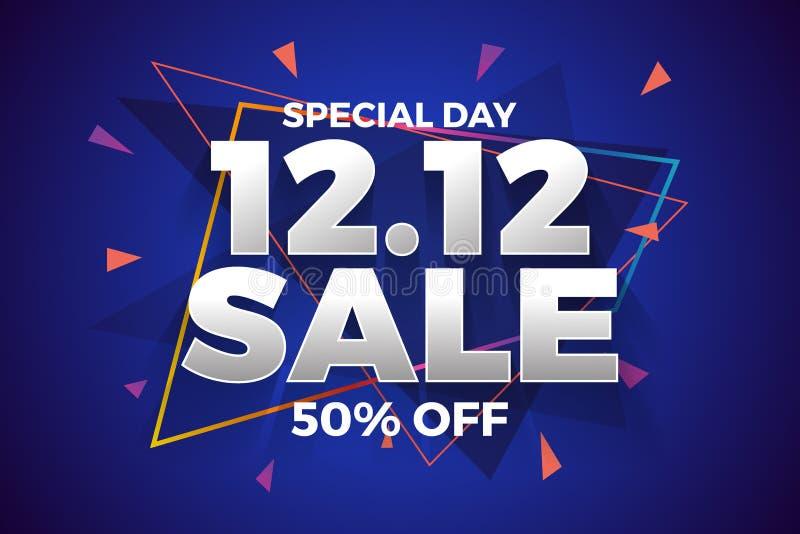 12 12 dnia sprzedaży sztandaru Robi zakupy tło royalty ilustracja