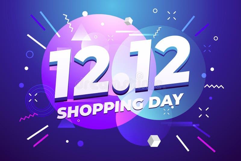 12 12 dnia sprzedaży ulotki lub plakata Robi zakupy projekt Globalnego zakupy dnia ?wiatowa sprzeda? na kolorowym tle 12 12 Szalo royalty ilustracja