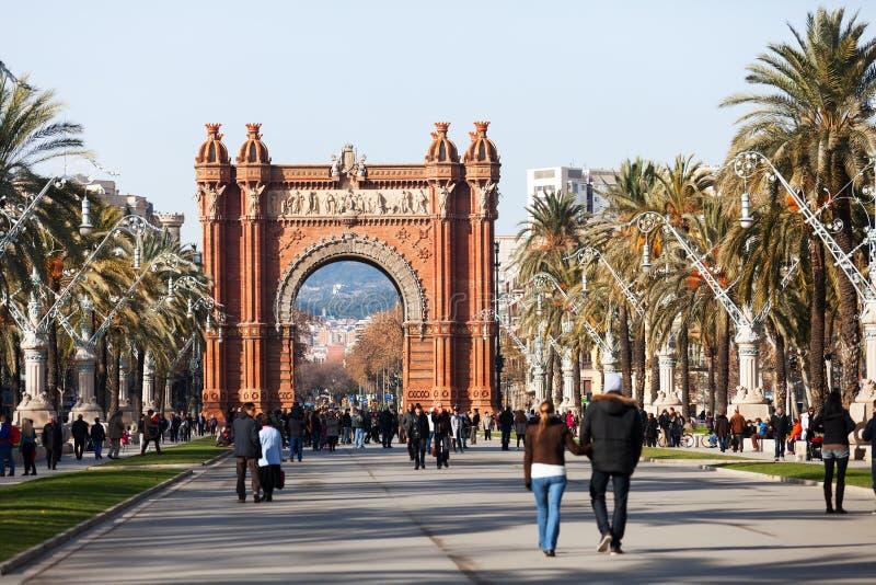 Dnia widok Łuk De Triomf w Barcelona zdjęcie royalty free