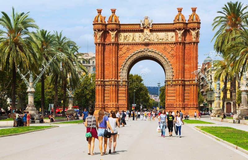 Dnia widok Łuk De Triomf w Barcelona zdjęcia royalty free