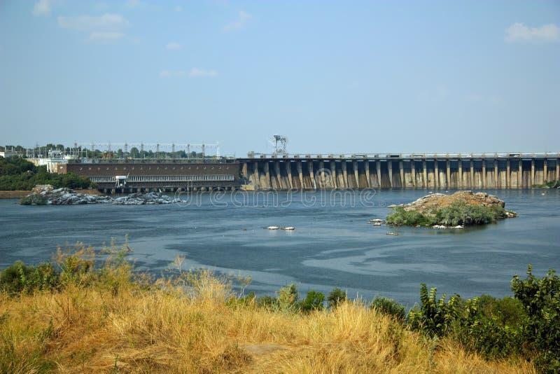 Dnieper水力发电的岗位, Zaporizhia 图库摄影