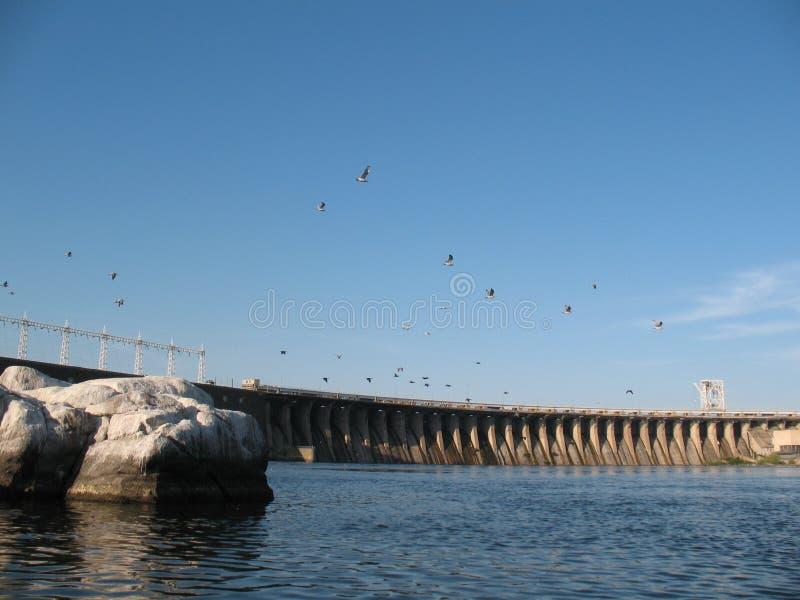 Dnieper flod, det stadsZaporozhye hemlandet Ukraina royaltyfria foton