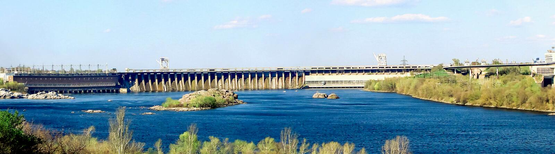 Dnieper Hydro-fabriek DneproGES in Zaporizhzhia, Oekraïne Panoramisch beeld DniproGES is een van de symbolen van Zaporozhye stock foto