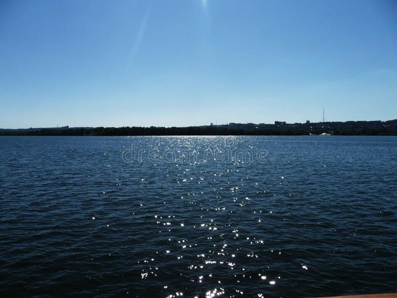 Dnieper River. At noon, the power of the mighty river royalty free stock image