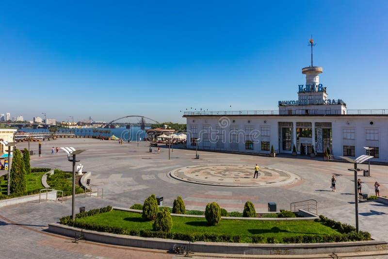 Dniepr Flusshafen skyline cityscape Landmark Kiew Ukraine Europa lizenzfreies stockbild