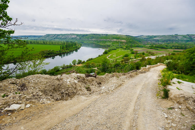 Dniester reservoir landscape. View of the Dniester reservoir landscape, horizontal photo. May stock image