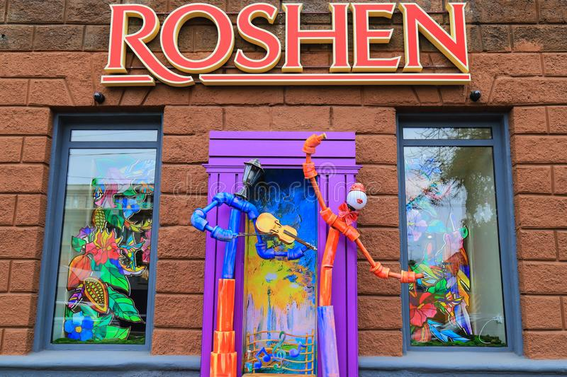 Dnipro city, Dnepropetrovsk, Ukraine, 08 17 2018. A colorful showcase of the Roshen confectionery store. Which belongs to the former Ukrainian president Petro stock photos