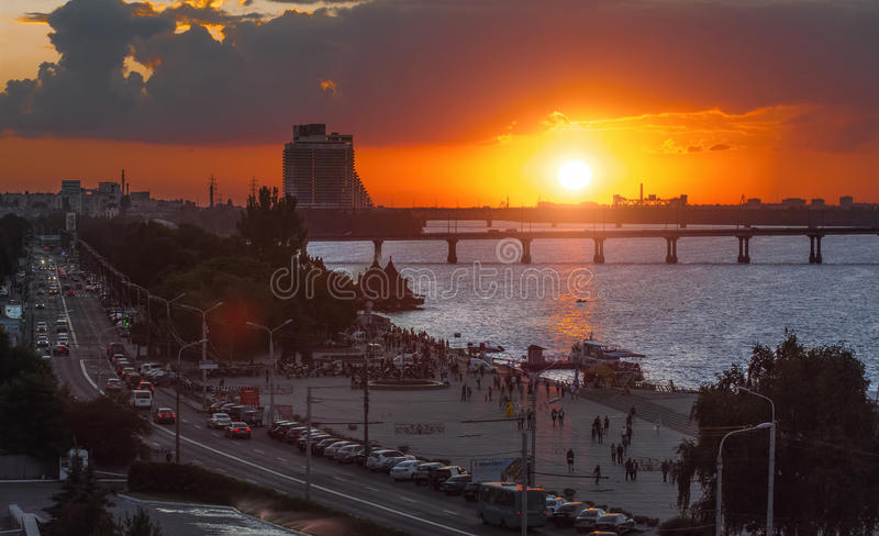 Dnipro or Dnepr is Ukraine`s fourth largest city. Dnipro city - July 7. View of the central part of the Dnipro city ex Dnipropetrovsk, Ukraine on July 7, 2016 royalty free stock images