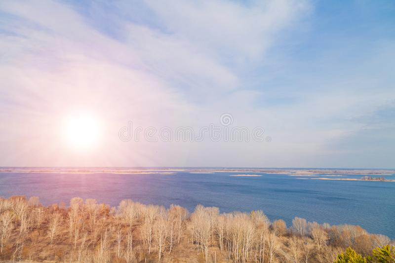Dnipro Dniper river aerial top beatiful view country side panorama, Ukraine. Sunset over water stock image