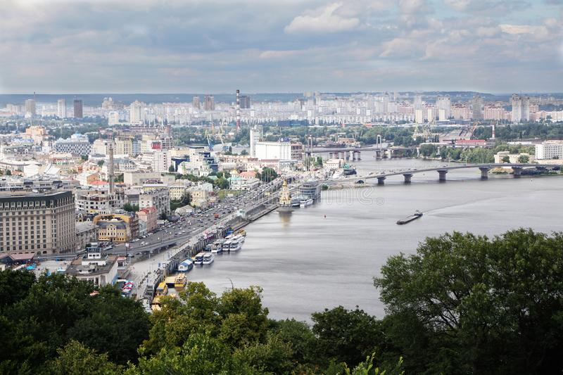 Dnipro river panoramic view. Kiev, Kyiv, Ukraine. The panoramic view of the Dnipro river, and Podol district Kiev, Kyiv, Ukraine stock photo