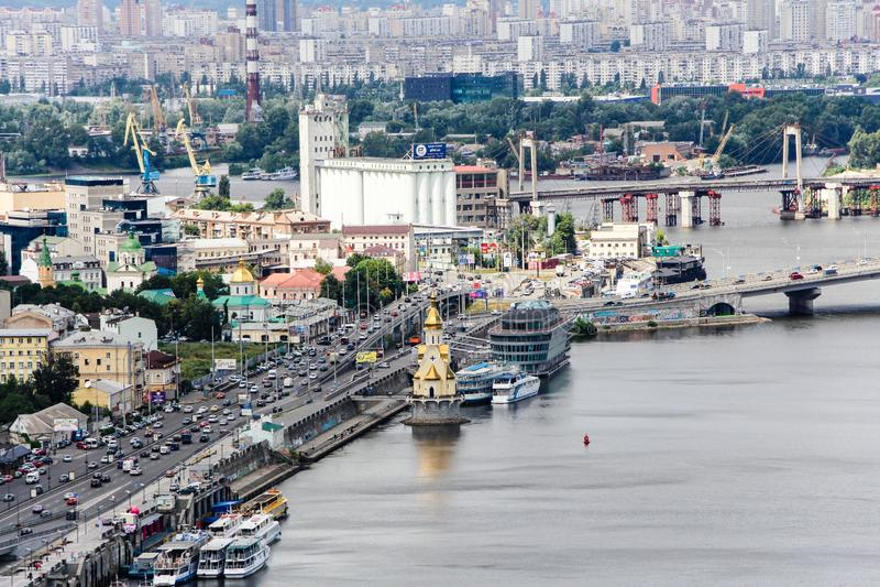 Dnipro river panoramic view. Kiev, Kyiv, Ukraine. The panoramic view of the Dnipro river, and Podol district Kiev, Kyiv, Ukraine royalty free stock photos