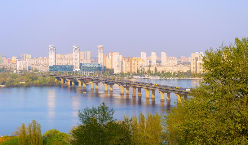Dnipro river Paton bridge  Ukraine. View over Dnipro river, Paton bridge and left bank of Kiev. Ukraine royalty free stock photos