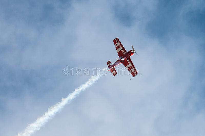 Aerobatics in the blue sky royalty free stock images